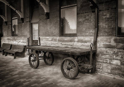 Photograph - Baggage Cart In Sepia by Dick Pratt