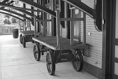 Photograph - Baggage Carts Bw by Gordon Mooneyhan