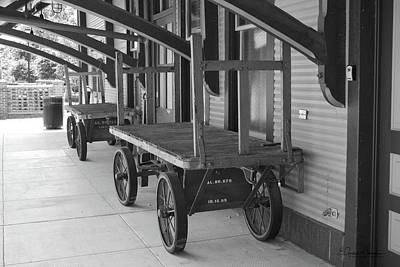 Photograph - Baggage Carts Bw by Gordon Mooneyhan