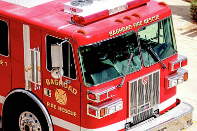 Photograph - Baghdad Fire Rescue Engine One by SR Green