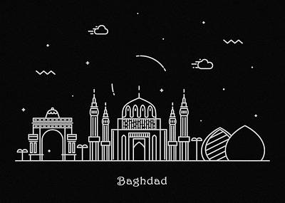 Abstract Landscape Drawing - Baghdad Skyline Travel Poster by Inspirowl Design