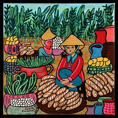 Rice Paddy Painting - Baguette Vendor by Susie Grossman