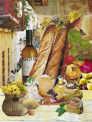 Baguettes, Cheese And Wine Art Print by Robin Frazier