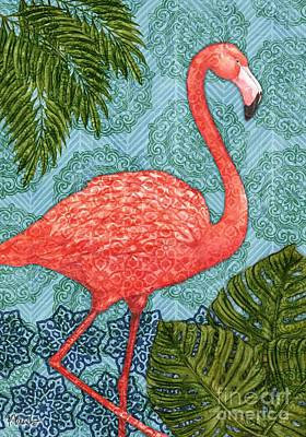 Flamingoes Painting - Bahama Flamingo - Vertical by Paul Brent