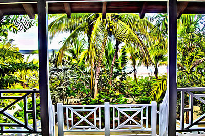 Bamboo Fence Digital Art - Bahama House View by Anthony C Chen