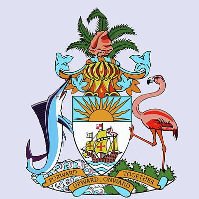Flamingos Drawing - Bahamas Coat Of Arms by Movie Poster Prints