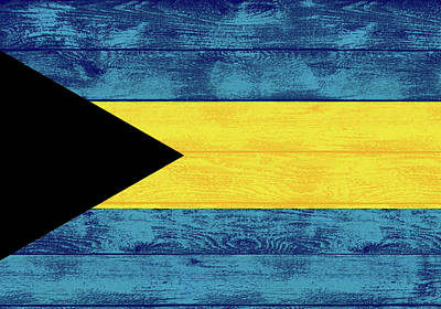 Mixed Media - Bahamas Flag Barn Door by Dan Sproul
