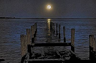 Photograph - Bahamas Nocturne Woodblock  by Steven Richman