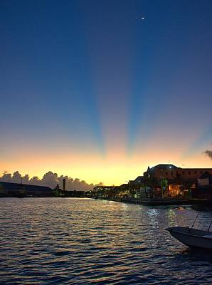 Photograph - Bahamas Sunrise And Moon by Steven Richman