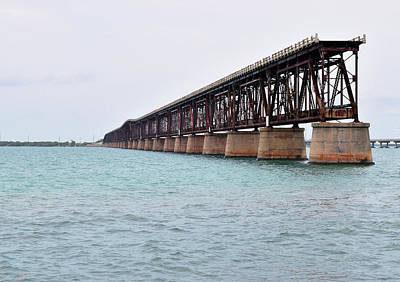 Florida Keys Train Railroad Photograph - Bahia Honda Bridge by Pat Turner