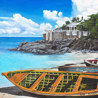 Sint Maarten Painting - Baie Rouge by Cindy D Chinn