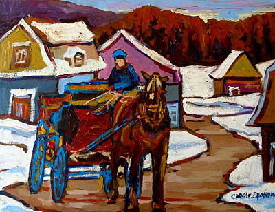 Horse And Buggy Painting - Baie Saint Paul Quebec Country Scene by Carole Spandau