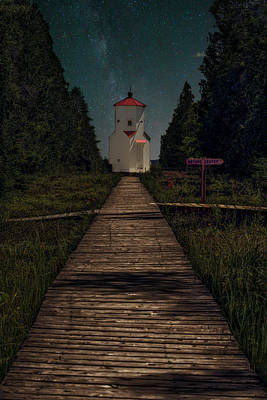 Nikki Vig Royalty-Free and Rights-Managed Images - Baileys Harbor Lighthouse is Smiling Under the Milky Way by Nikki Vig