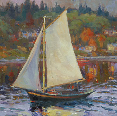 Seattle Painting - Bainbridge Island Sail by Steve Henderson