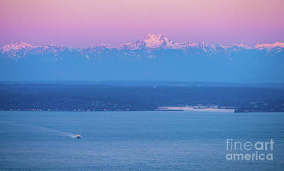 Skylines Royalty-Free and Rights-Managed Images - Bainbridge Island Sunrise Ferry and Mountains by Mike Reid