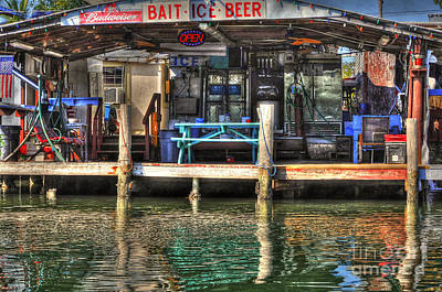 Art Print featuring the photograph Bait Ice  Beer Shop On Bay by Dan Friend
