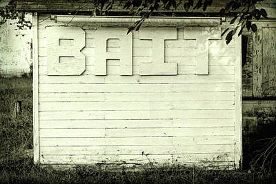 Bait Sign Fishing Black And White Art Print by Terry DeLuco