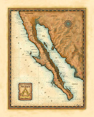 Sea Of Cortez Painting - Baja Mexico Map by Steve Breyer