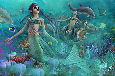 Angel Mermaids Ocean Digital Art - Bajo El Mar De Los Muertos  by Betsy Knapp
