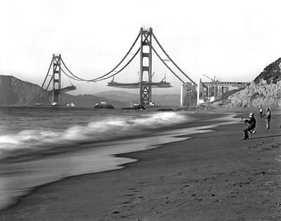 Black And White Surf Photograph - Baker Beach In Sf by Underwood Archives