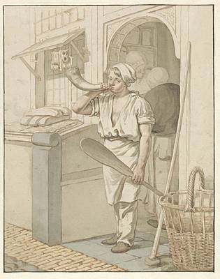 Ceramics Painting - Baker Blowing His Shop On A Horn, Pieter Christoffel Wonder, 1790 - 1852 by Celestial Images