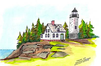 Drawing - Baker Island Bar Harbor Maine by Paul Meinerth