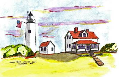 Drawing - Bakers Island Salem by Paul Meinerth