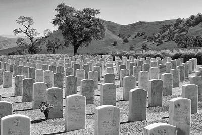 Photograph - Bakersfield National Cemetery In Black And White by Ram Vasudev