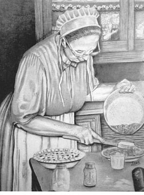 Amish Drawing - Baking Day by Loretta Orr
