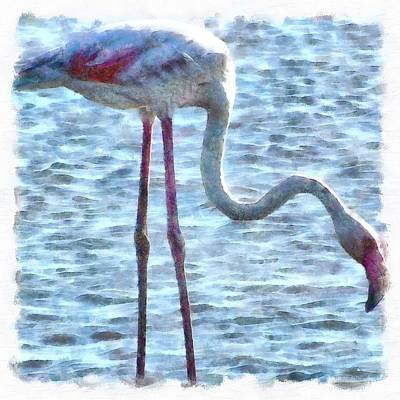 Painting - Balance Of Nature Flamingo Watercolor by Taiche Acrylic Art