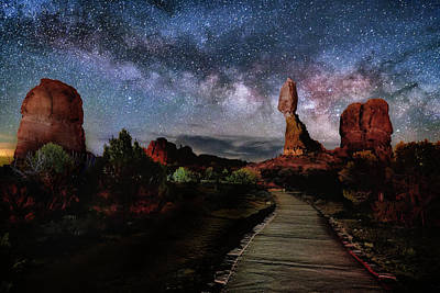 Photograph - Balanced Rock Milky Way by Michael Ash