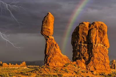 Lightning Storms Photograph - Balanced Rock Storm Anp by Susan Candelario