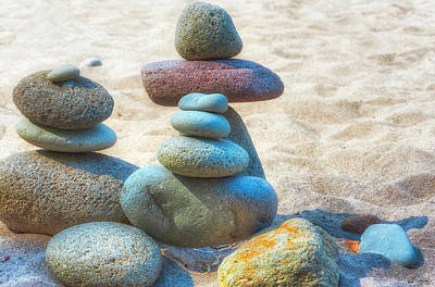 Photograph - Balanced Stacked Rocks  by Dee Browning