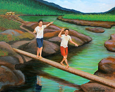 Filipino Artist Painting - Balancing Life Through A Straight And Narrow Path by Cyril Maza