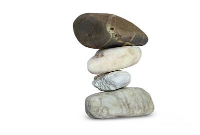 Photograph - Balancing Stone Tower On White Background by Michal Boubin