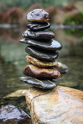 Photograph - Balancing Zen Stones In Countryside River II by Marco Oliveira
