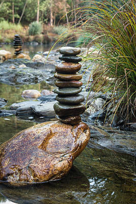 Balancing Zen Stones In Countryside River Vi Art Print by Marco Oliveira