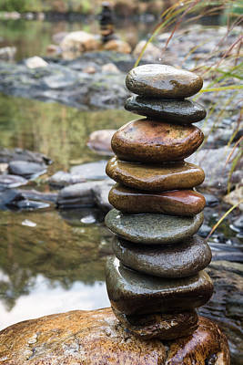 Balancing Zen Stones In Countryside River Vii Art Print by Marco Oliveira