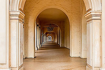 Colonial Architecture Photograph - Balboa Park Walkway by Bill Gallagher