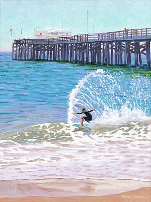 Painting - Balboa Pier Skimboarder by Steve Simon