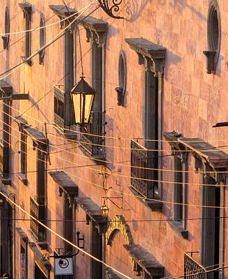 Photograph - Balconies And Wires At Sunset. by Rob Huntley