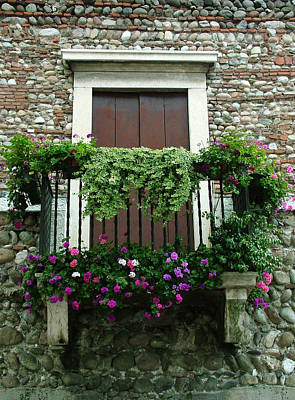 Photograph - Balcony On Pebbled Wall by Donna Corless