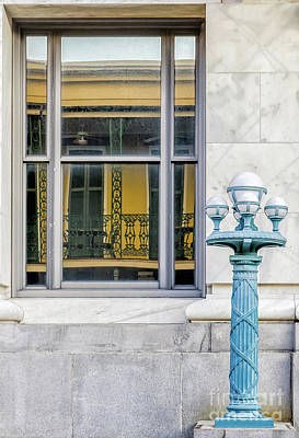 Photograph - Balcony Reflection And Lamppost-nola by Kathleen K Parker