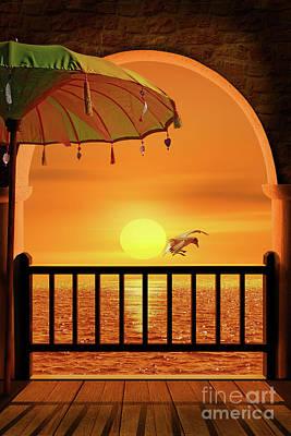Balcony To The Sunset Art Print