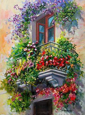 Antique Italian Oil Painting - Balcony With Flowers - Italy by Gioia Mannucci