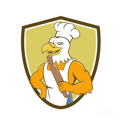 American Food Digital Art - Bald Eagle Baker Chef Rolling Pin Crest Cartoon by Aloysius Patrimonio