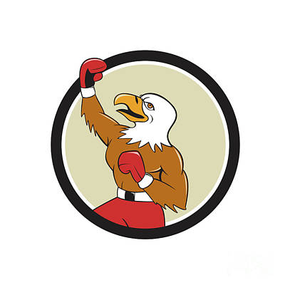 Boxer Digital Art - Bald Eagle Boxer Pumping Fist Circle Cartoon by Aloysius Patrimonio