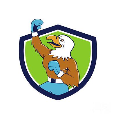 Bald Eagle Boxer Pumping Fist Crest Cartoon Art Print