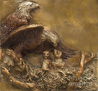 Sculpture - Bald Eagle Family by Dawn Senior-Trask