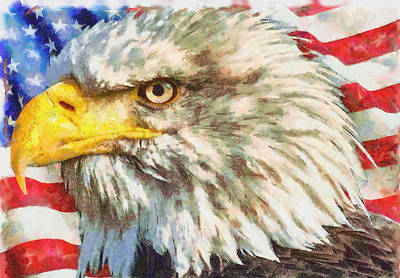 Painting - Bald Eagle On American Flag by Dan Sproul